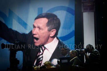 Dennis Kucinich on the jumbotron at the DNC.