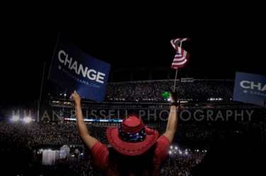 At Invesco Field on the last night of the Democratic National Convention.