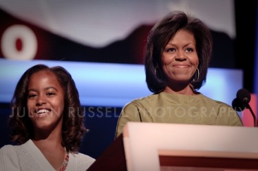 Michelle Obama and her daughter Malia at a stage rehearsal in the Pepsi Center in preparation for her speech later tonight. Denver, CO 08/25/08.
