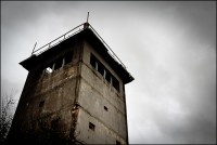 An abandoned East German watchtower in Darchau, Germany.