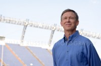 Denver Mayor John Hickenlooper at a press event opening Invesco Field for the 2008 Democratic National Convention.