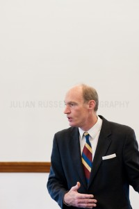 Presidential hopeful  Thaddeus McCotter speaks to potential supporters at the Public Library in Dover, NH.