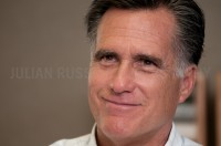 Presidential hopeful Mitt Romney speaks to potential supporters at  RSA Realty in Rochester, N.H.