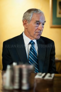 Congressman and presidential hopeful Ron Paul speaks with supporters at Espresso Cafe in Portsmouth, NH.