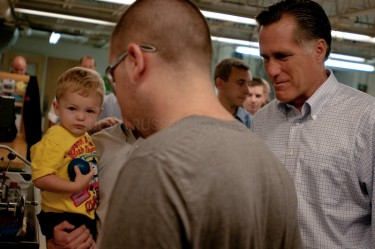 Presidential hopeful Mitt Romney tours the New England Small Tube factory in Litchfield, NH.