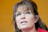 Former Alaska governor Sarah Palin addresses a crowd of Tea Party supporters at the Tea Party Express rally in Manchester, NH.