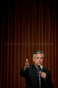Presidential hopeful former Utah governor Jon Huntsman speaks at Riverwoods Retirement Community in Exeter, NH.