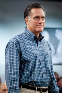 "Presidential hopeful, former Massachusetts Governor Mitt Romney speaks to potential supporters at a ""Town Hall"" style meeting at Saint Anselm College's Institute of Politics in Manchester, NH"