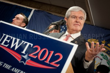 Presidential hopeful Newt Gingrich speaks to potential supporters at a Town Hall style meeting in Concord, NH.   JULIAN RUSSELL | METROPOL