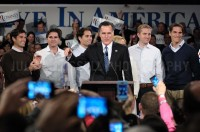 Mitt Romney holds a celebration rally in Manchester after winning the New Hampshire primary.  JULIAN RUSSELL  |  METROPOL