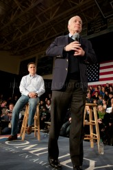 Former Republican presidential nominee Senator John McCain endorses presidential hopeful Mitt Romney at a Town Hall style meeting in Manchester, NH.   JULIAN RUSSELL | METROPOL