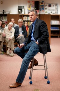 Presidential hopeful Jon Huntsman speaks to potential supporters at a Town Hall style meeting in Franklin, NH.   JULIAN RUSSELL | METROPOL