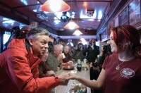 Presidential hopeful Jon Huntsman visits the Main Street Station Diner in Plymouth, NH.  -  JULIAN RUSSELL  |  METROPOL