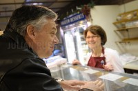 Presidential hopeful Jon Huntsman stops by Harvey's Bakery in Dover, NH.  JULIAN RUSSELL  |  METROPOL