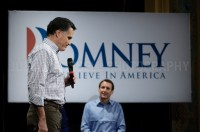 Presidential hopeful Mitt Romney holds a rally with former rival Tim Pawlenty at the Rochester Opera House. Rochester, NH.  JULIAN RUSSELL  |  METROPOL