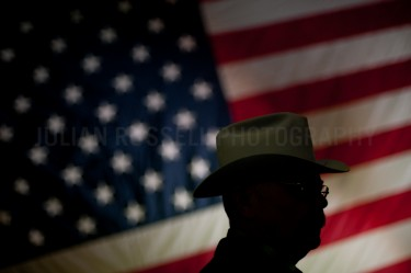 A man in a hat at a Mitt Romney Rally in Elko, Nevada.  |  JULIAN RUSSELL