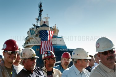 Ship builders attend a rally for presidential hopeful Mitt Romney in Panama City, Florida.  |  JULIAN RUSSELL