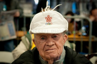 A man in an Winter Olympics hat at a Mitt Romney Rally in Elko, Nevada.  |  JULIAN RUSSELL