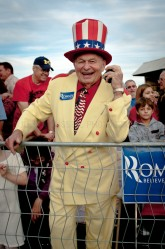 A man in a hat at a Mitt Romney Rally in Ormond Beach, Florida  |  JULIAN RUSSELL