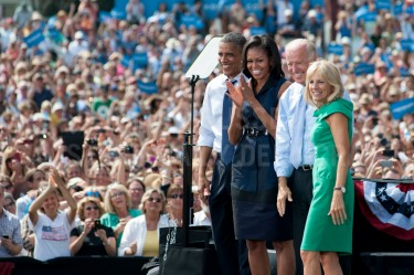 President Barack Obama, First Lady Michelle Obama, Vice President Joe Biden and Second Lady Dr. Jill Biden, from left, at the end of a campaign event at Strawberry Banke in Portsmouth on Friday.