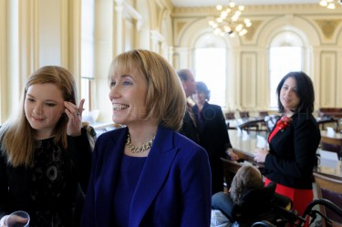 New Hampshire Governor-elect Maggie Hassan waits with her family in the senate chamber of the statehouse to be announced for her inaugural proceedings in Concord on January 3rd.
