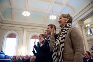The Executive Council is sworn in by New Hampshire Governor Maggie Hassan at the Concord statehouse on January 3rd.