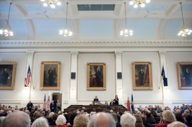 New Hampshire governor Maggie Hassan delivers her inaugural address at the statehouse in Concord on January 3rd.