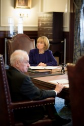New Hampshire governor Maggie Hassan holds her first Executive Council meeting at the statehouse in Concord on January 3rd.